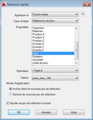 AutoCAD sélection basée sur les propriétés