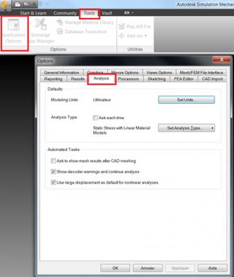 Autodesk Simulation Mechanical Options d'analyse