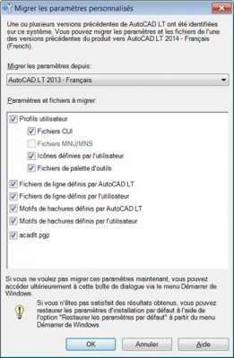 AutoCAD Migrer les paramètres