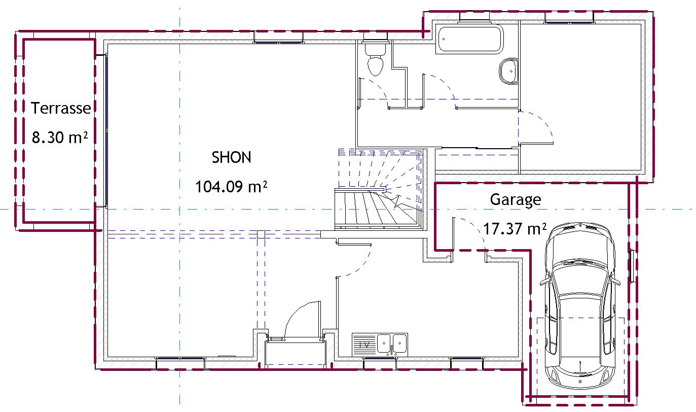 surface couverte au sol par la maison avie home. Black Bedroom Furniture Sets. Home Design Ideas