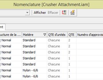 Bibliothèque Inventor qui génère des fichiers du centre de contenu en Structure de Nomenclature Normal ou Fantôme