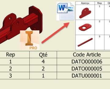 Miniatures associées à une Liste de Pièces Inventor (Nomenclature)