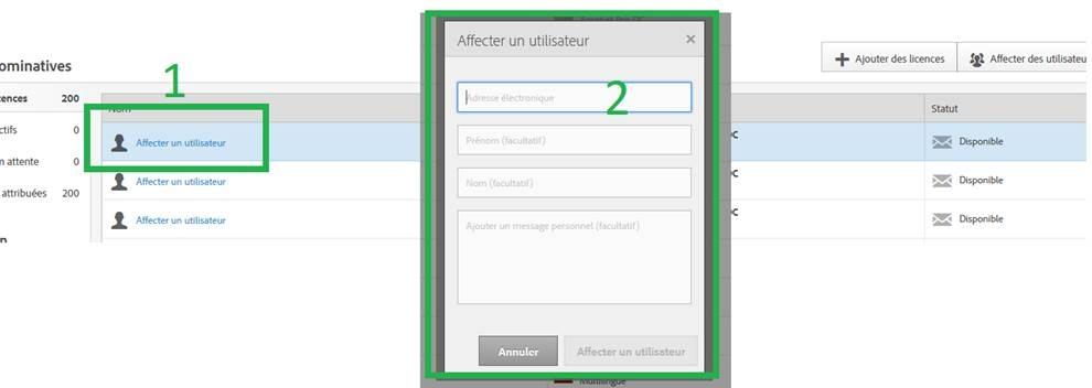 affecter un utilisateur |ADOBE Creative Cloud