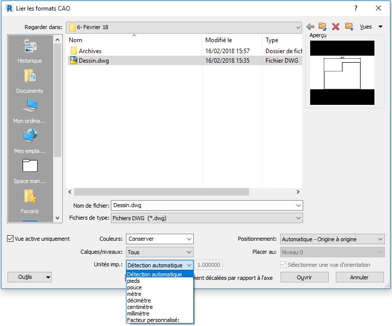 Modification d'unités d'un fichier DWG après importation dans Revit'
