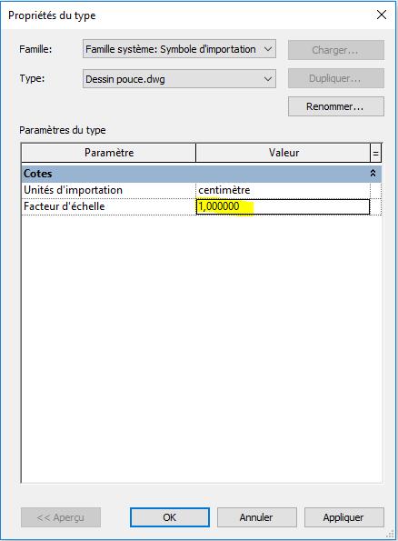Modification d'unités d'un fichier DWG après importation dans Revit