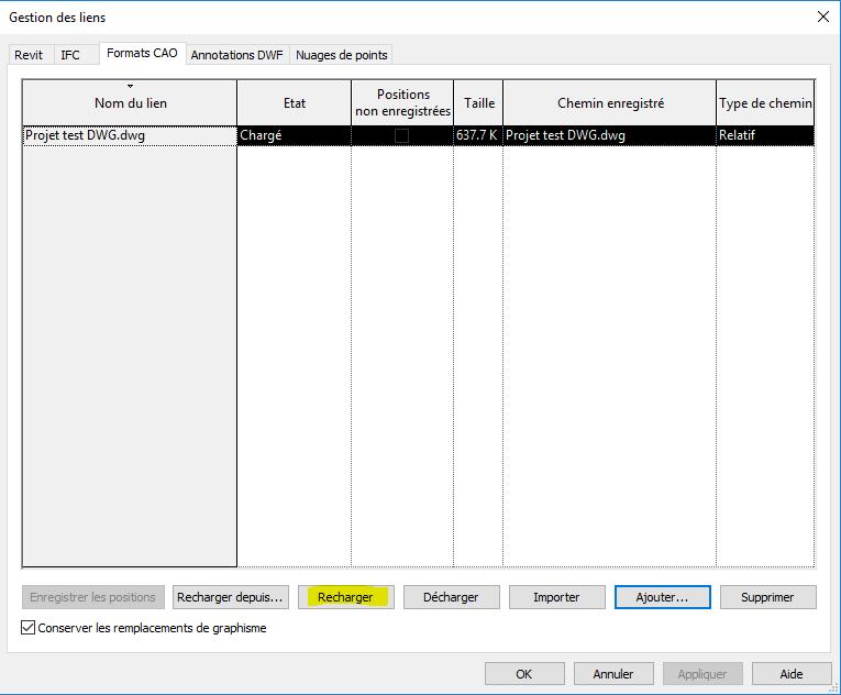 Fichier DWG importé