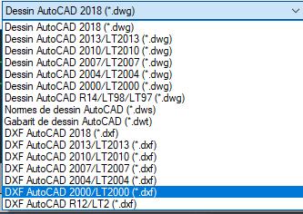 versions DWG et DXF