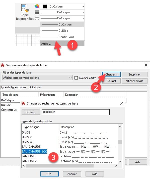 AutoCAD Personnaliser des types de ligne