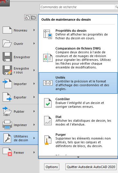 AutoCAD dessin et unités