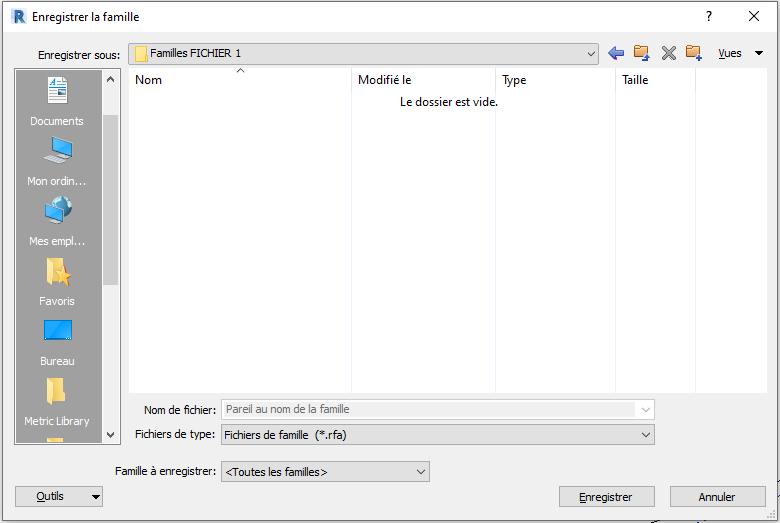 Transférer des familles d'un fichier vers un autre fichier Revit