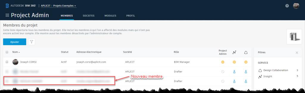 droits d'accès utilisateurs dans BIM 360