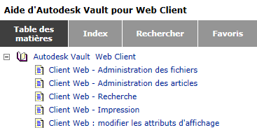 aide du Client Web Autodesk Vault 2013