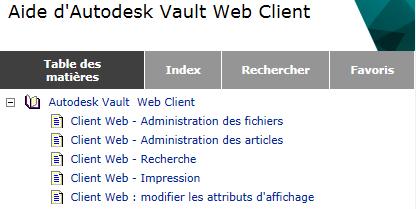 aide du Client Web Autodesk Vault 2014