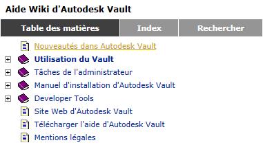 aide d'Autodesk Vault 2013