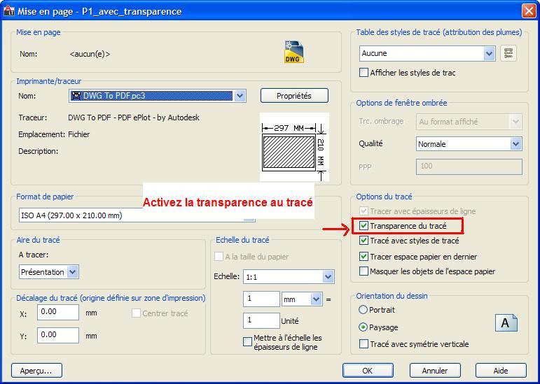autocad transparence