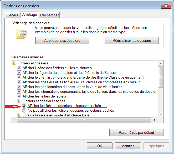 comment trouver un dossier cache windows 7